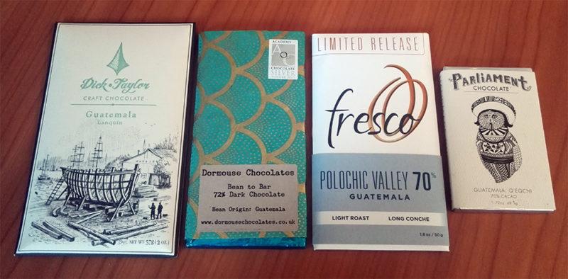 Neljä suklaata, joissa kaakaon alkuperä on Guatemala