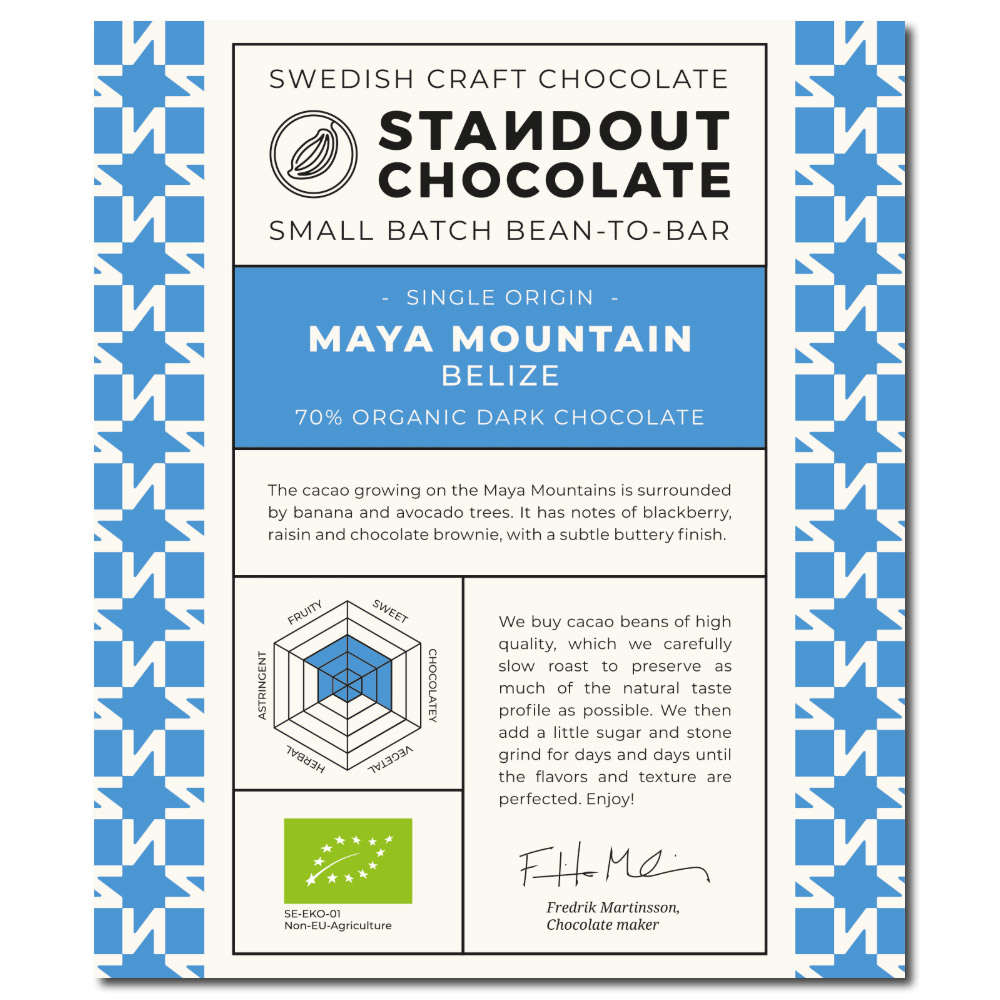 Standout Chocolate Belize Maya Mountain 70%