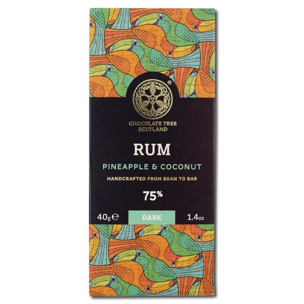 Chocolate Tree Rum Pineapple Coconut 75% tumma suklaa (40g) 1