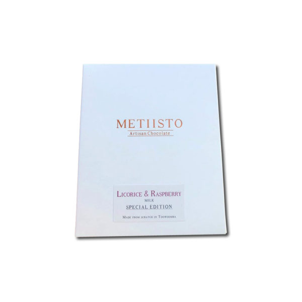 Metiisto Artisan Chocolate Licorice & Raspberry 56% maitosuklaa